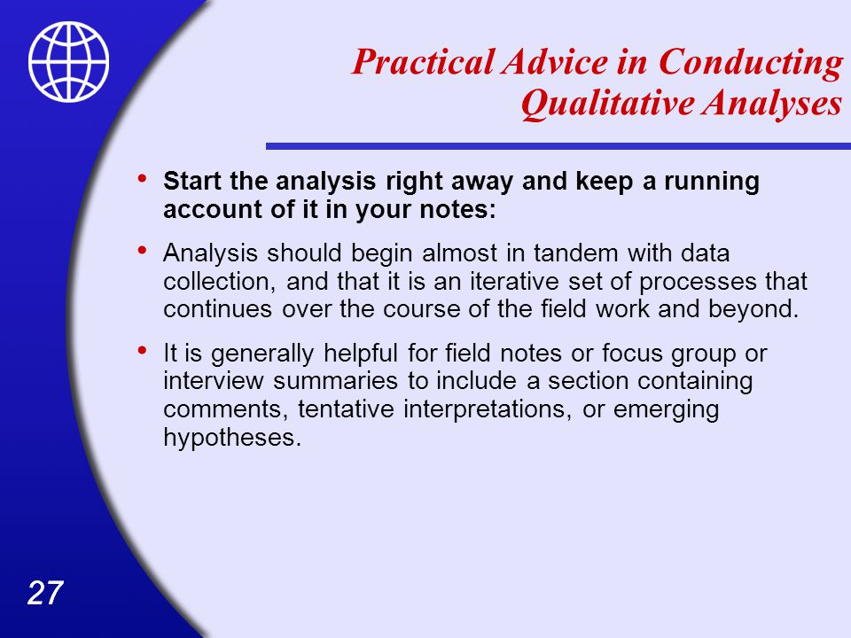 Practical Advice in Conducting Qualitative Analyses