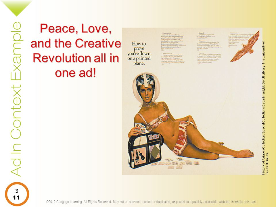 Peace, Love, and the Creative Revolution all in one ad!