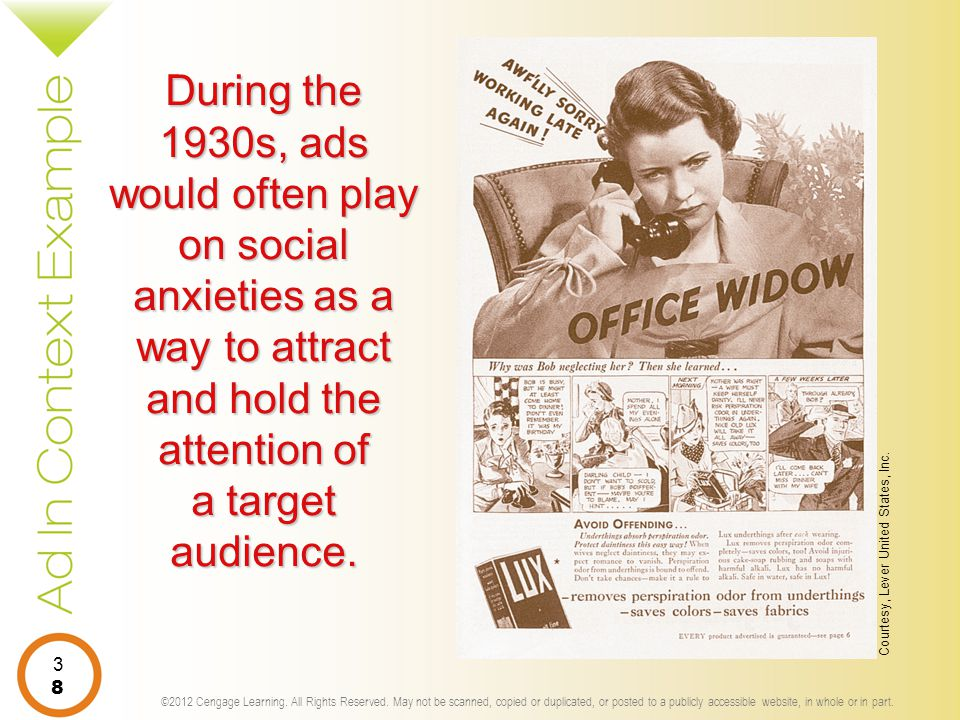 During the 1930s, ads would often play on social anxieties as a way to attract and hold the attention of a target audience.