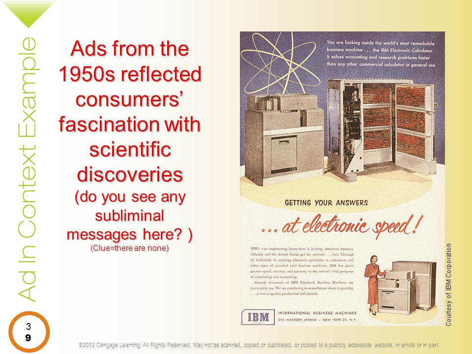 Ads from the 1950s reflected consumers' fascination with scientific discoveries (do you see any subliminal messages here ) (Clue=there are none)