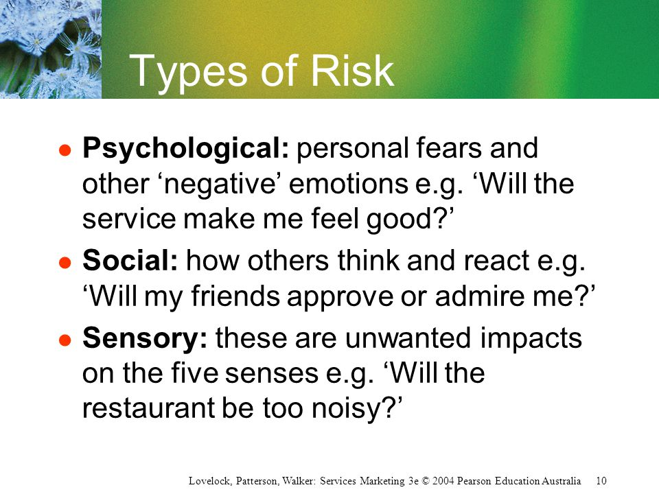 Types of Risk Psychological: personal fears and other 'negative' emotions e.g. 'Will the service make me feel good '