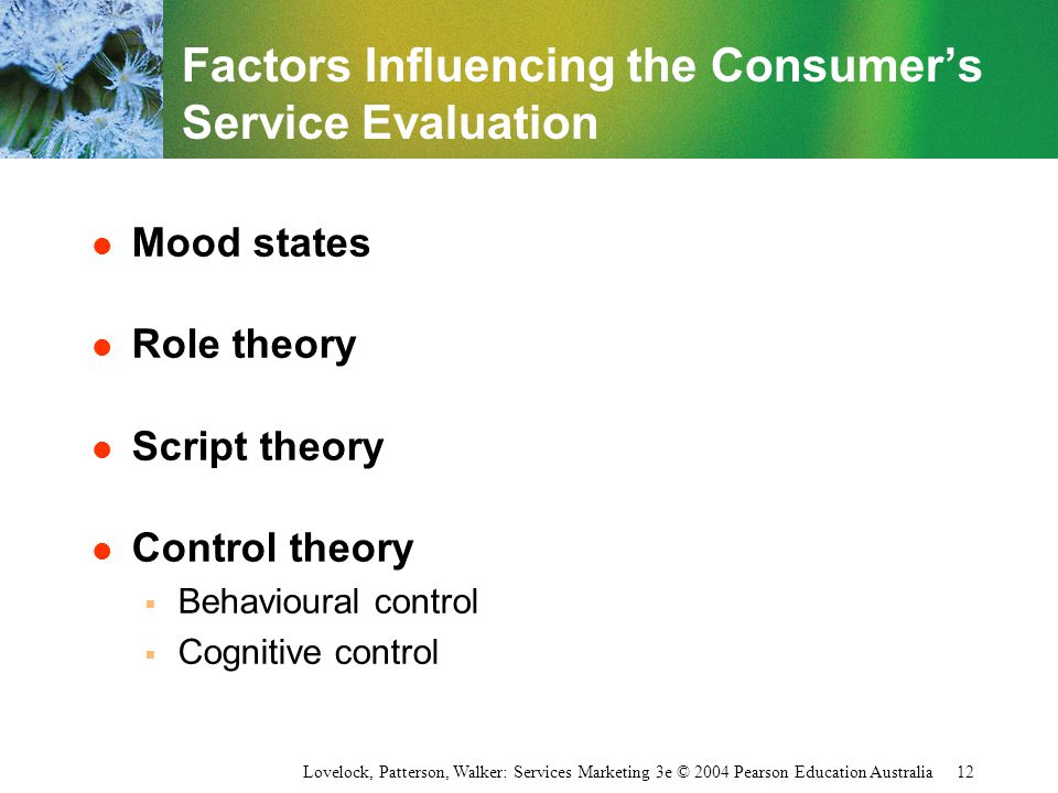 Factors Influencing the Consumer's Service Evaluation
