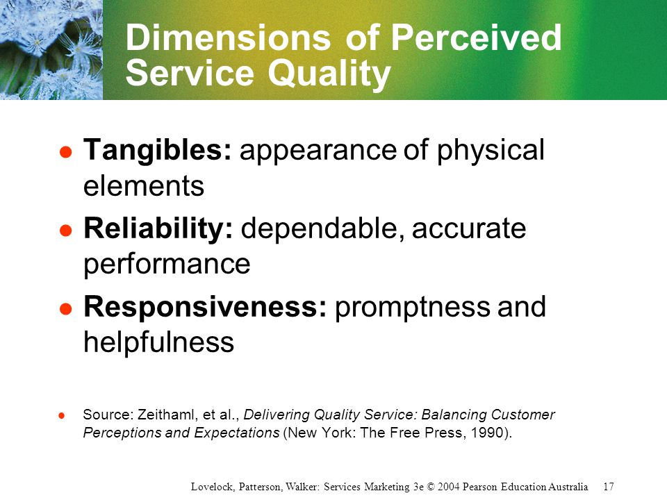 Dimensions of Perceived Service Quality