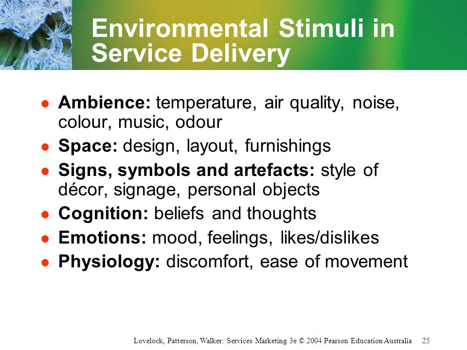 Environmental Stimuli in Service Delivery