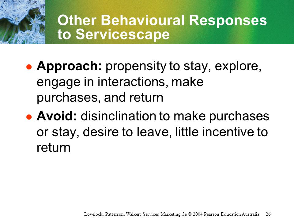 Other Behavioural Responses to Servicescape
