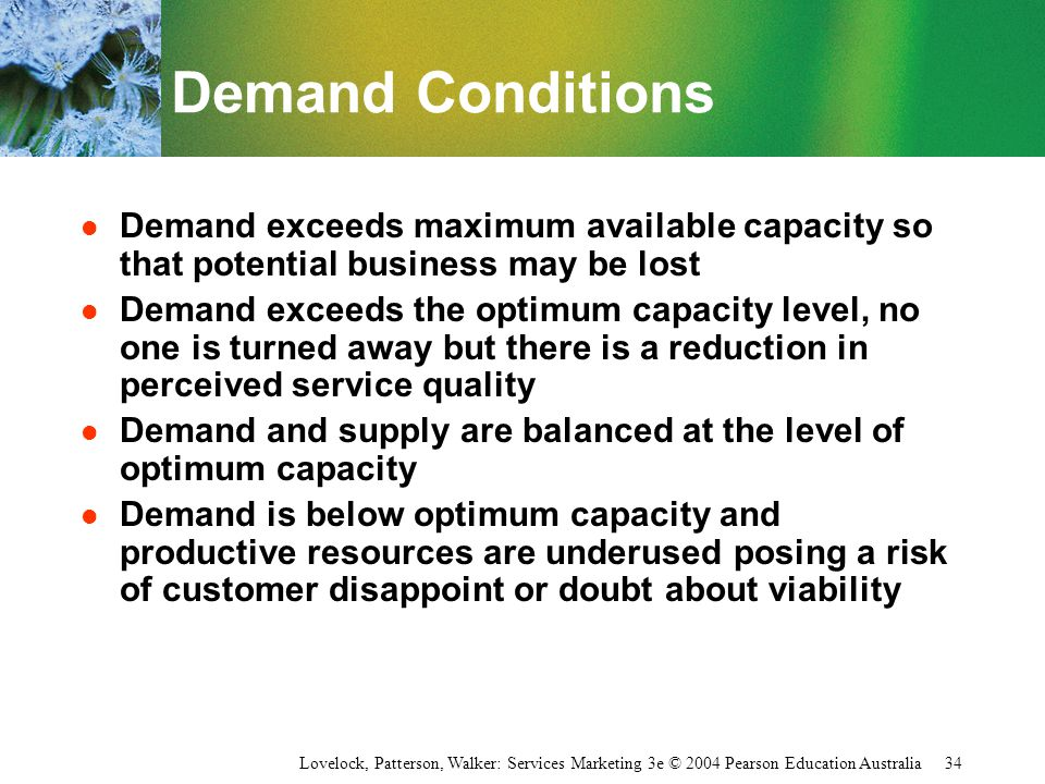 Demand Conditions Demand exceeds maximum available capacity so that potential business may be lost.