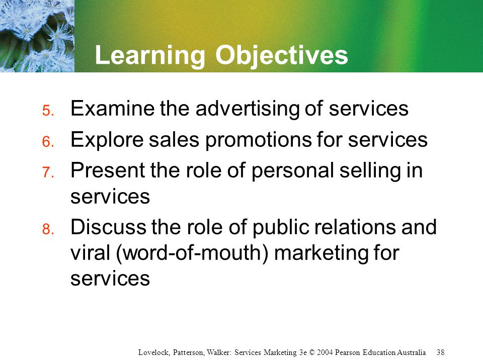 Learning Objectives Examine the advertising of services