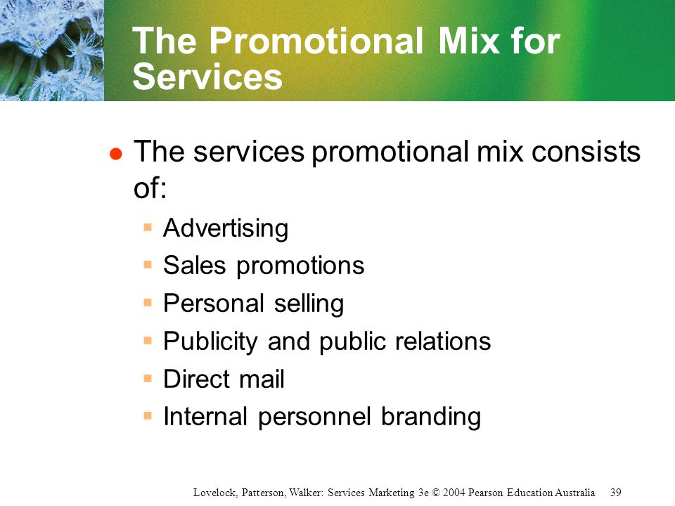 The Promotional Mix for Services