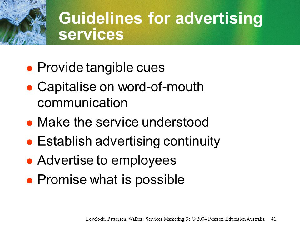 Guidelines for advertising services