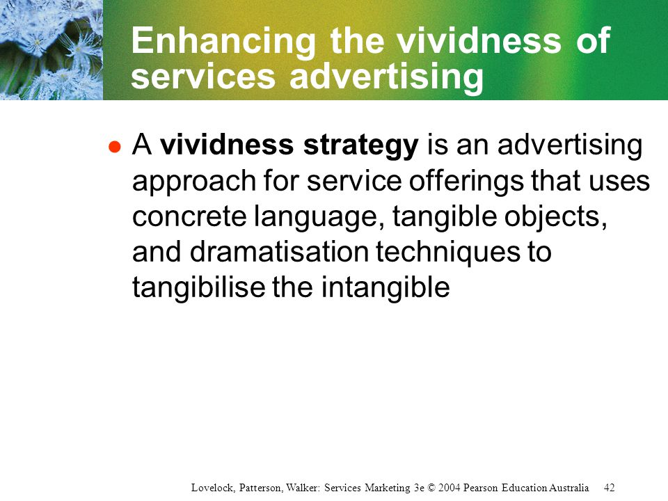 Enhancing the vividness of services advertising