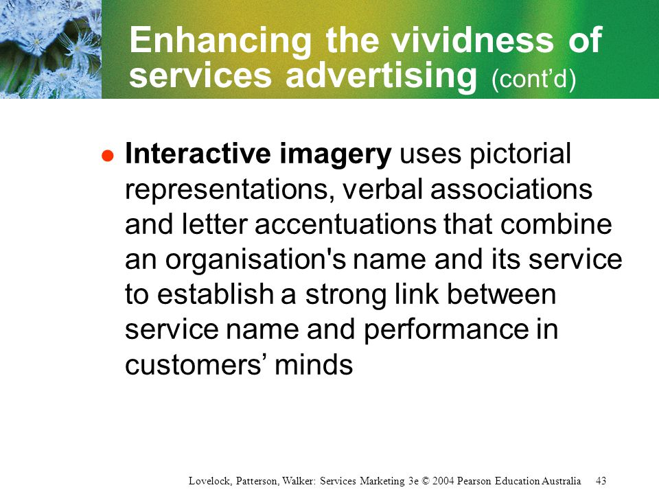 Enhancing the vividness of services advertising (cont'd)