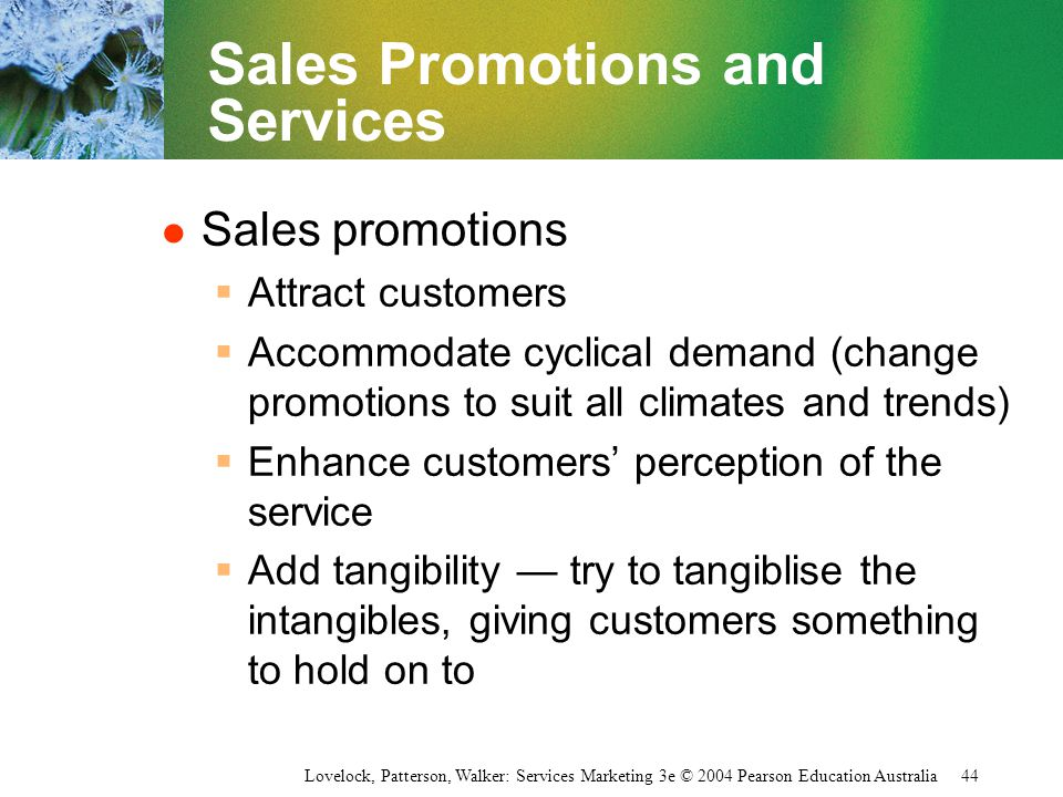 Sales Promotions and Services