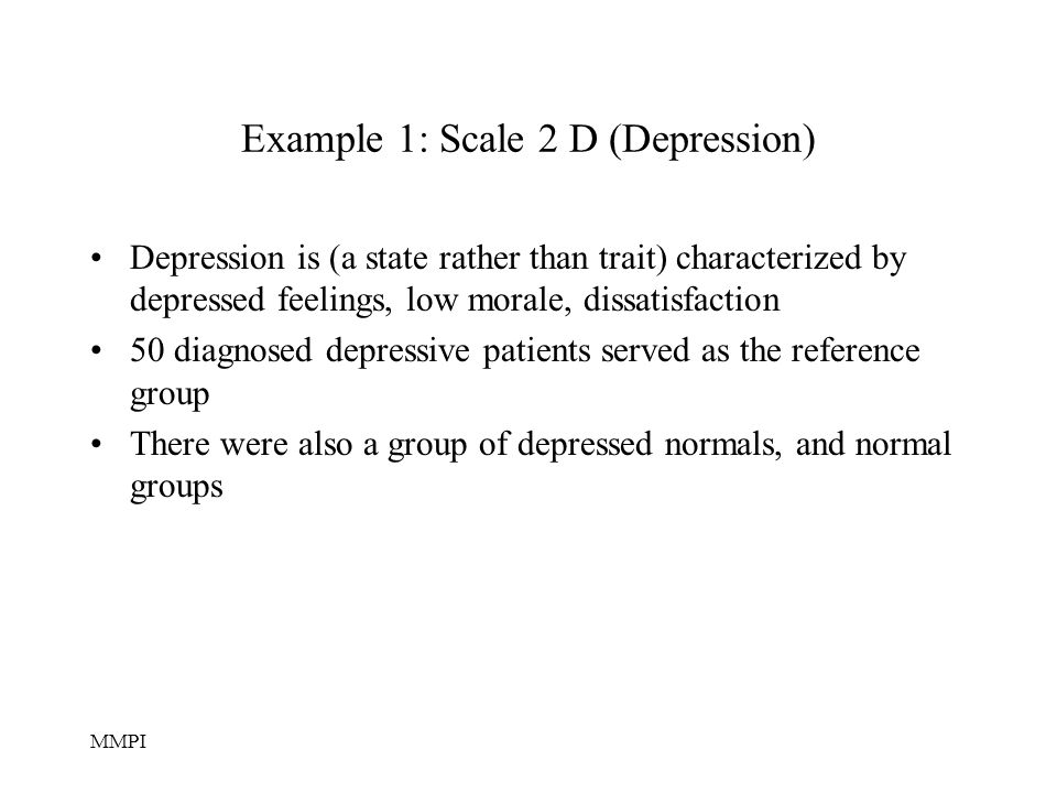 Example 1: Scale 2 D (Depression)