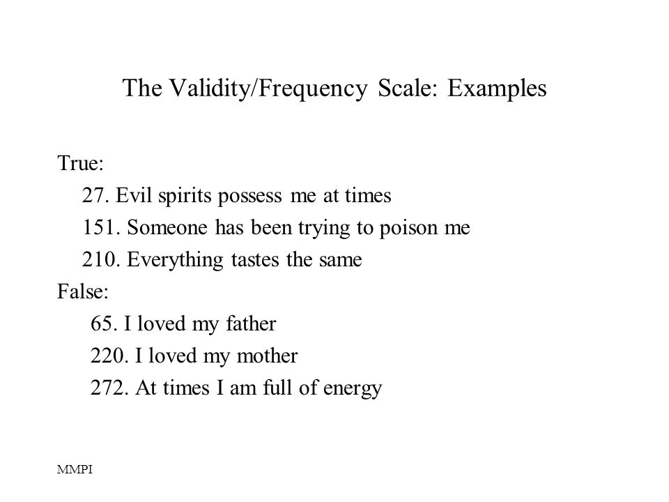 The Validity/Frequency Scale: Examples