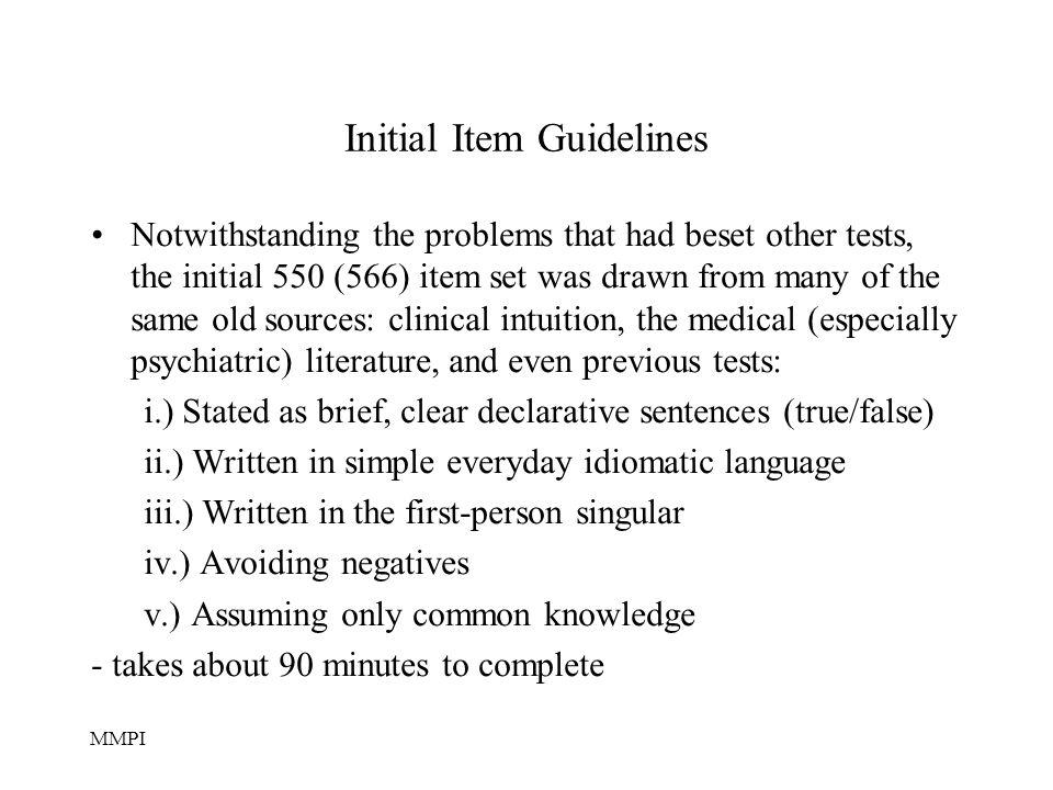 Initial Item Guidelines
