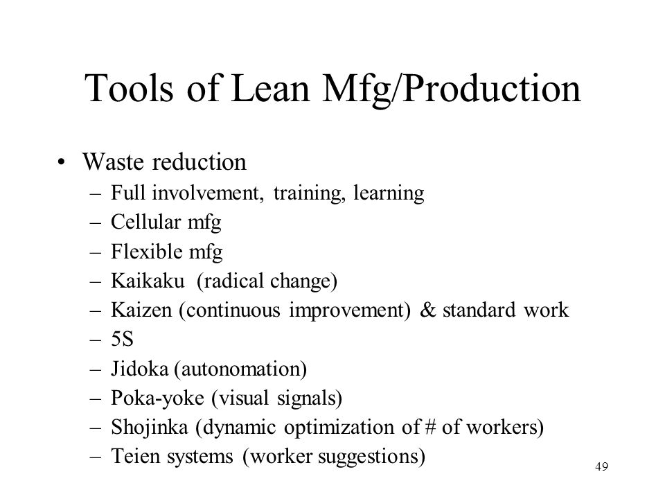 Tools of Lean Mfg/Production