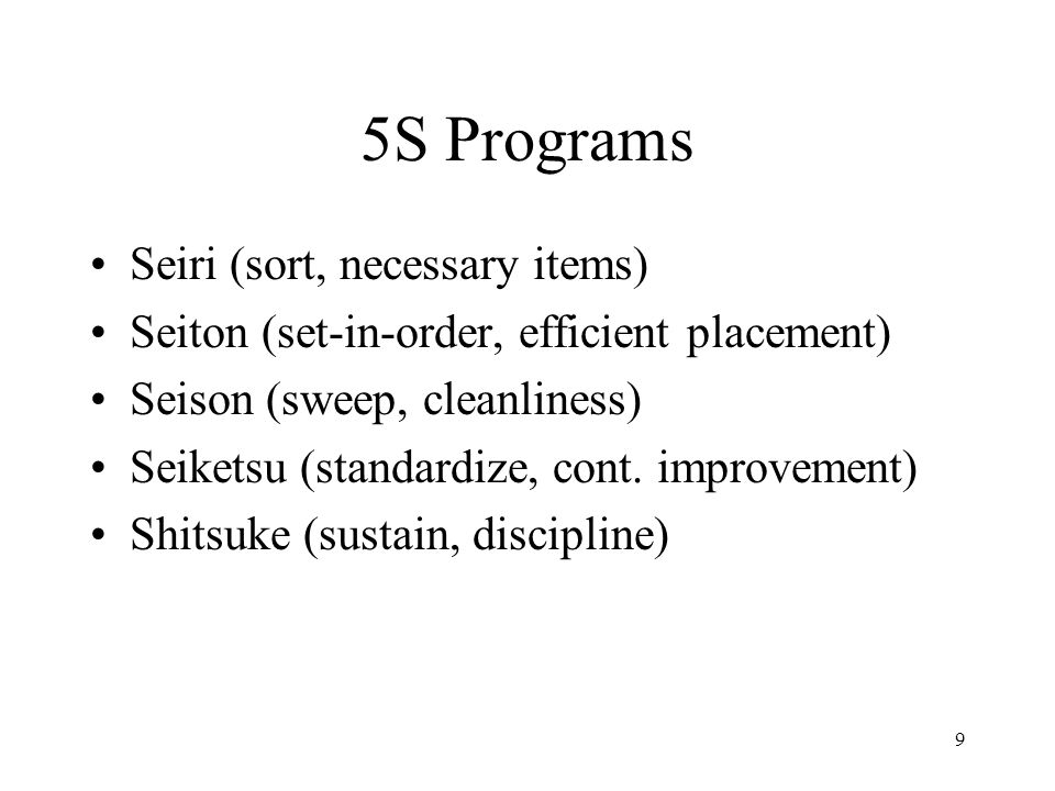 5S Programs Seiri (sort, necessary items)