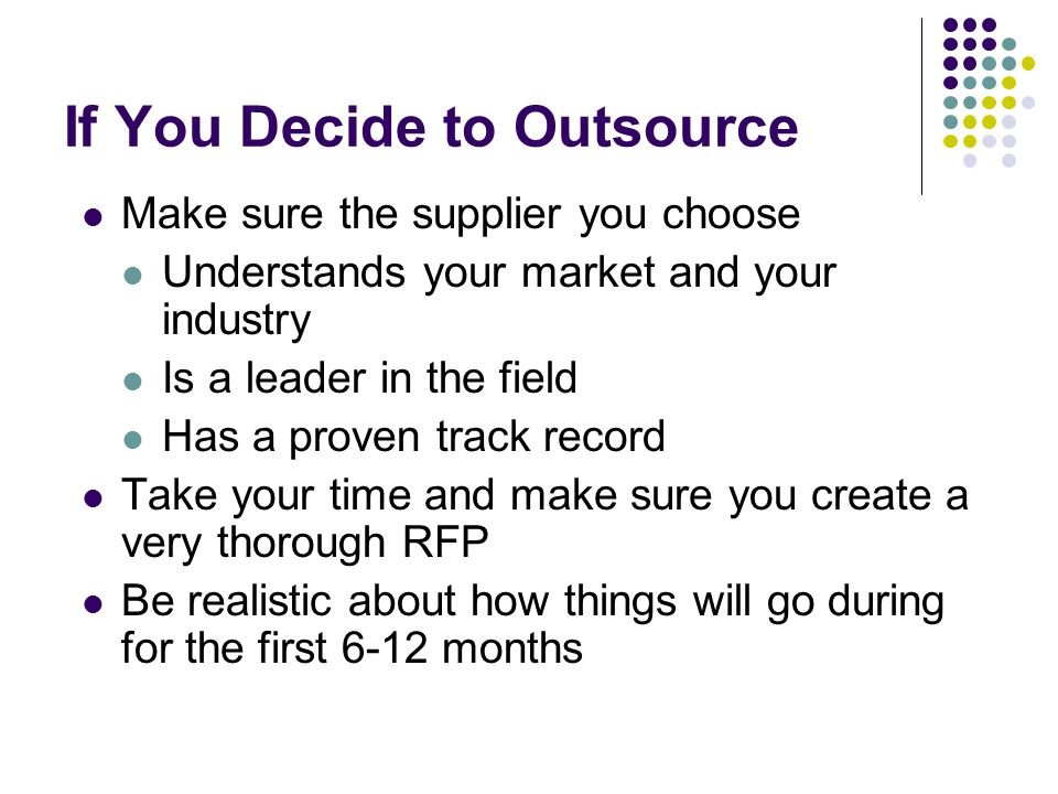 If You Decide to Outsource