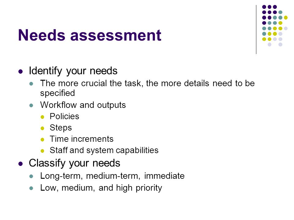 Needs assessment Identify your needs Classify your needs