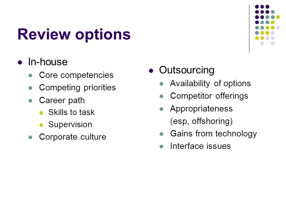 Review options In-house Outsourcing Core competencies