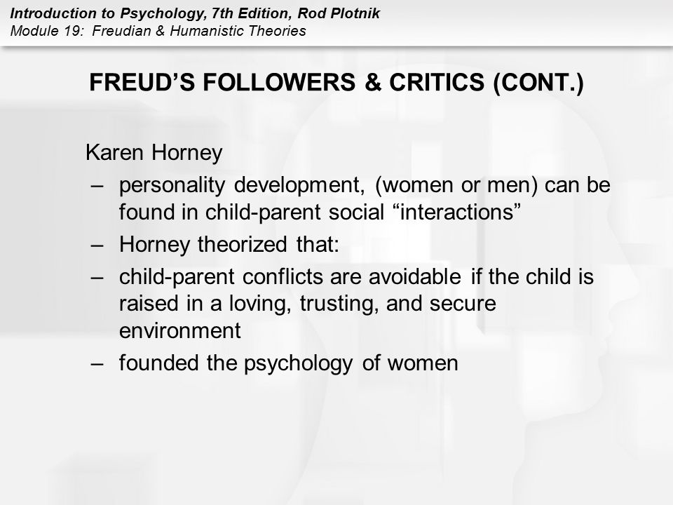 FREUD'S FOLLOWERS & CRITICS (CONT.)