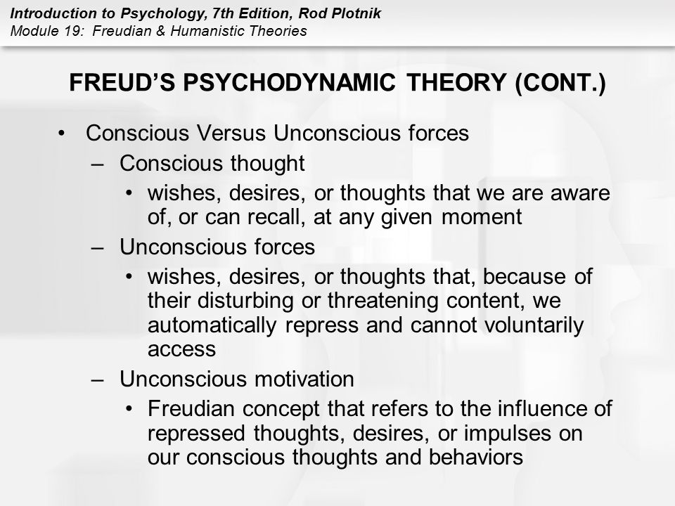 FREUD'S PSYCHODYNAMIC THEORY (CONT.)