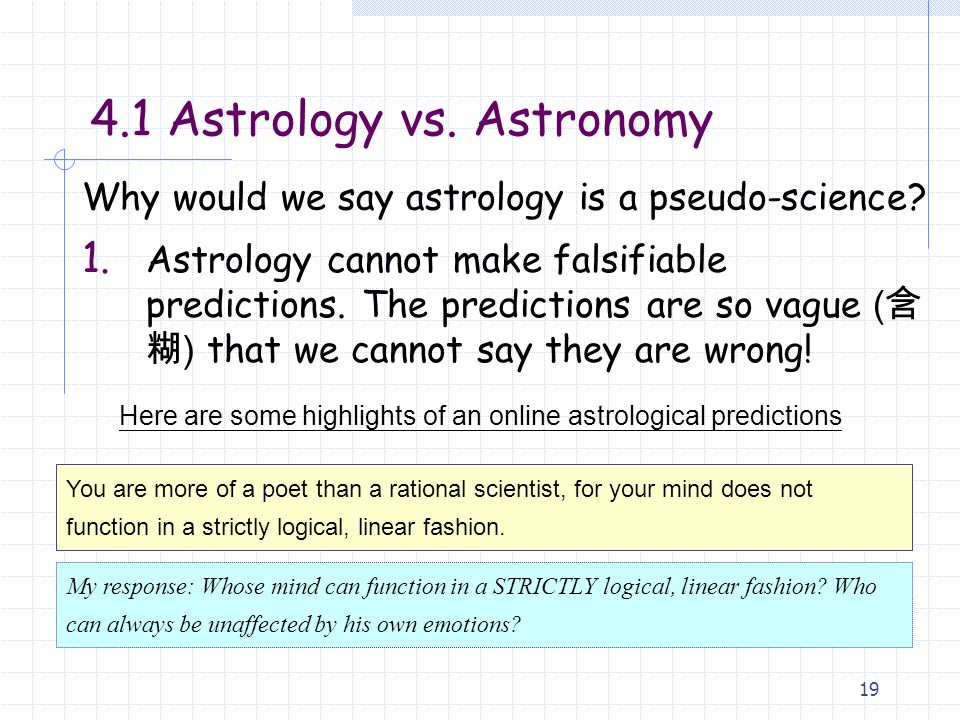 Why would we say astrology is a pseudo-science