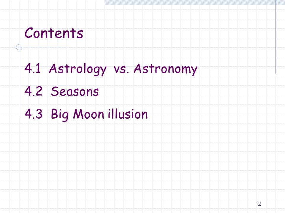 Contents 4.1 Astrology vs. Astronomy 4.2 Seasons 4.3 Big Moon illusion