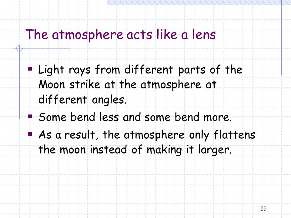 The atmosphere acts like a lens