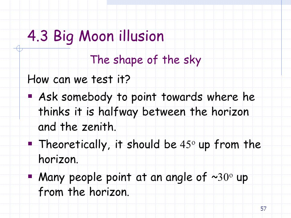 4.3 Big Moon illusion The shape of the sky How can we test it