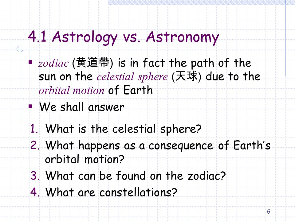 4.1 Astrology vs. Astronomy