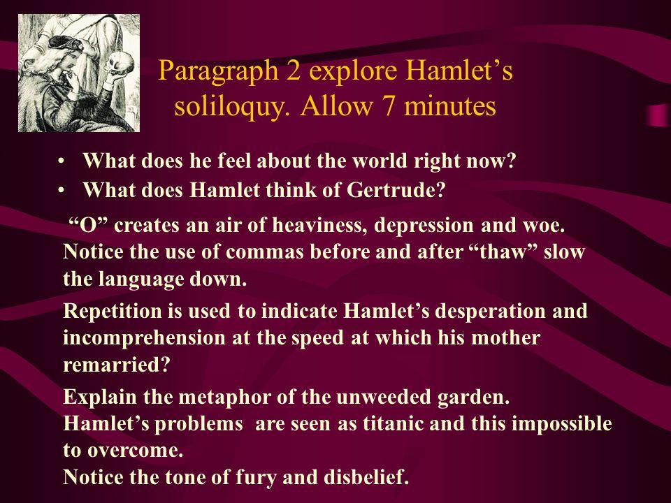 Paragraph 2 explore Hamlet's soliloquy. Allow 7 minutes