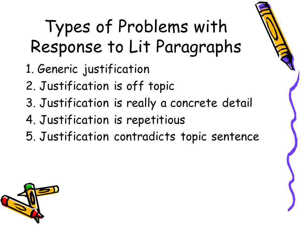 Types of Problems with Response to Lit Paragraphs