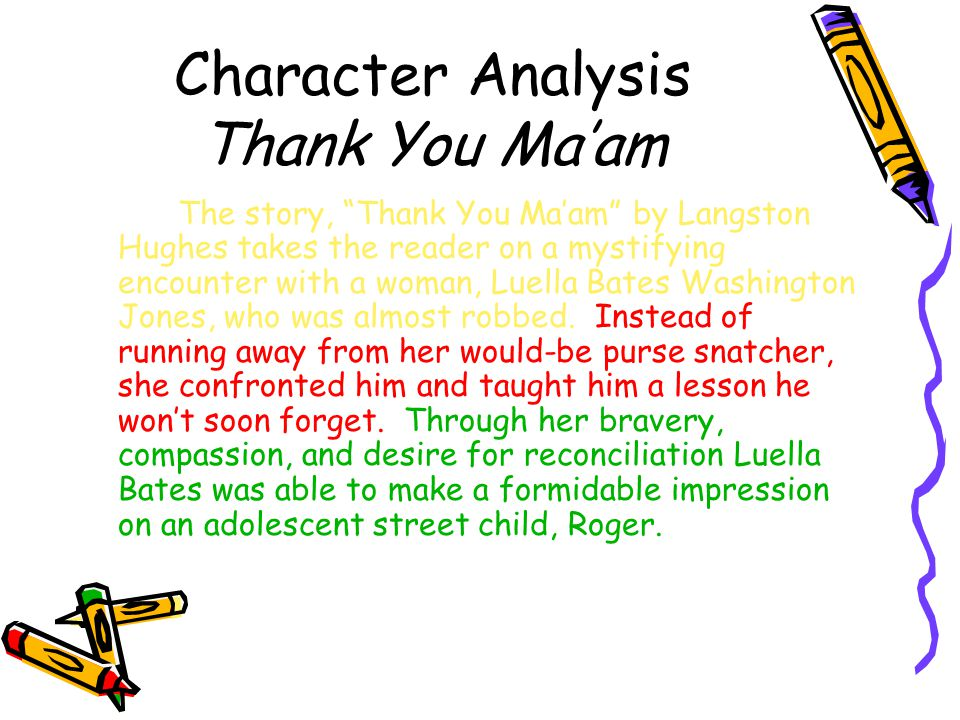 Character Analysis Thank You Ma'am