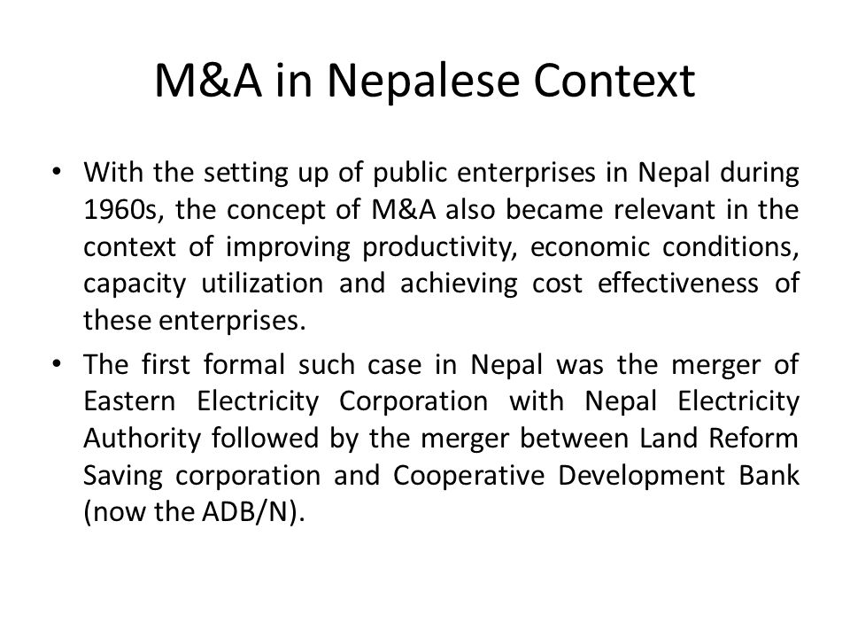 M&A in Nepalese Context