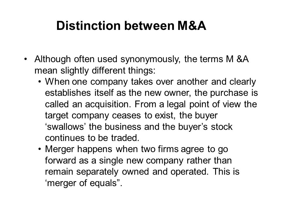 Distinction between M&A