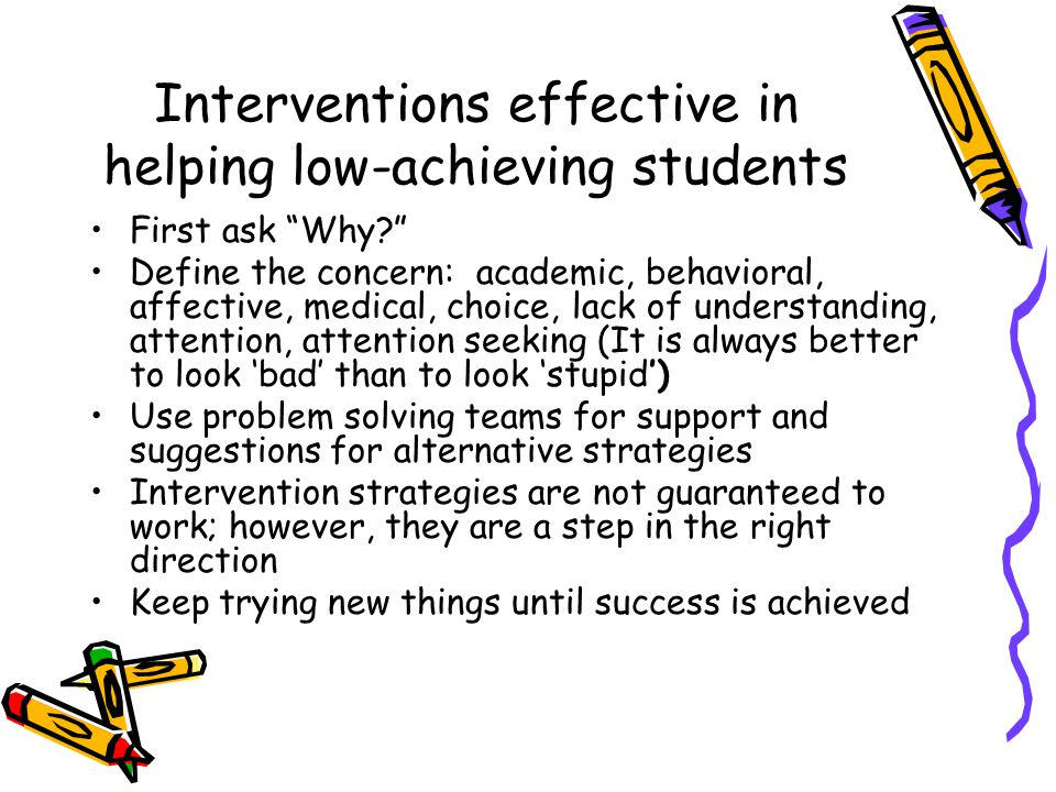 Interventions effective in helping low-achieving students