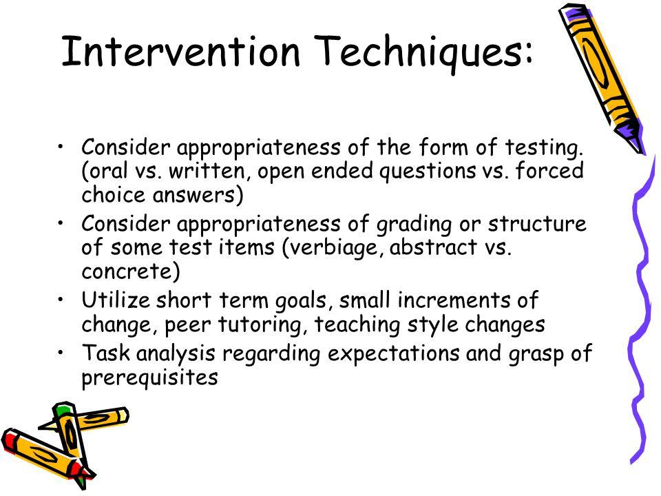 Intervention Techniques: