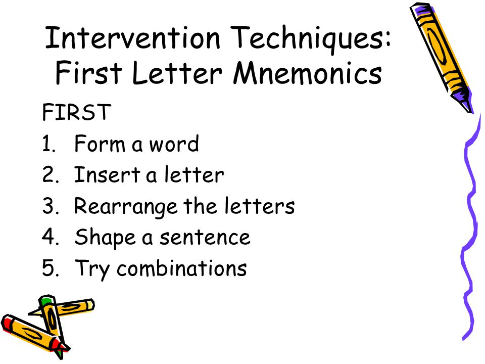 Intervention Techniques: First Letter Mnemonics