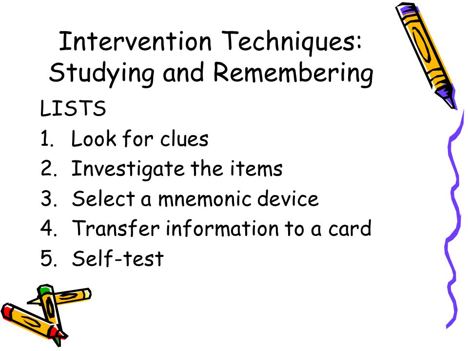 Intervention Techniques: Studying and Remembering