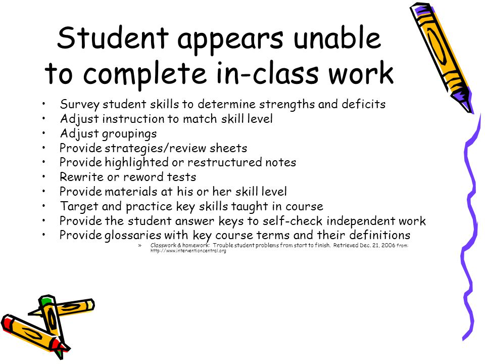 Student appears unable to complete in-class work