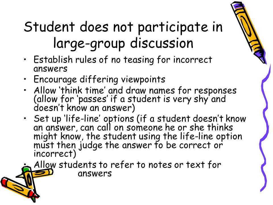 Student does not participate in large-group discussion