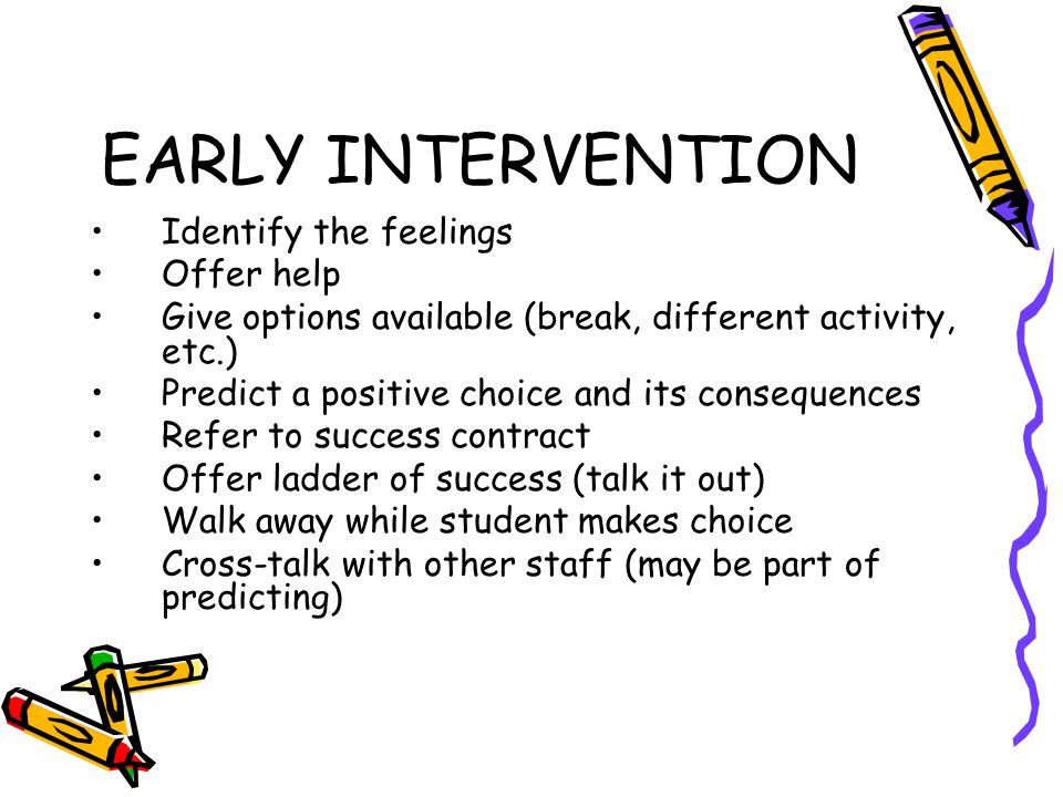 EARLY INTERVENTION Identify the feelings Offer help