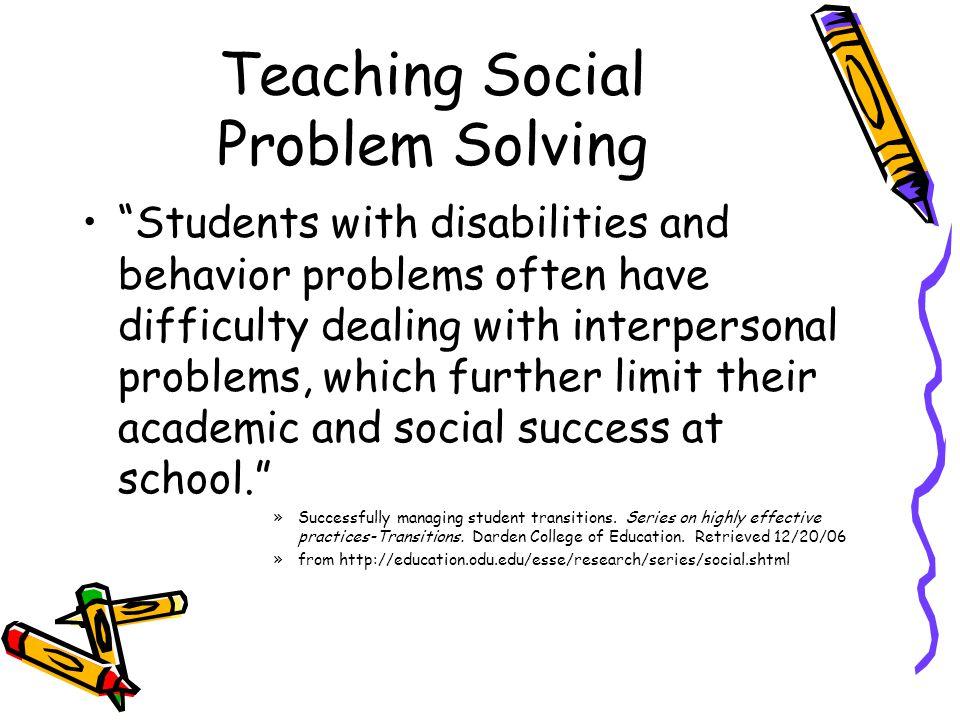 Teaching Social Problem Solving