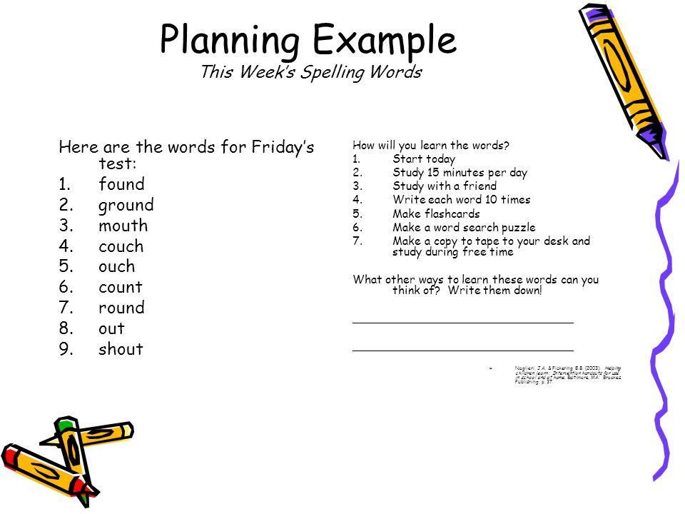 Planning Example This Week's Spelling Words