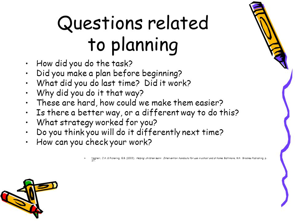 Questions related to planning