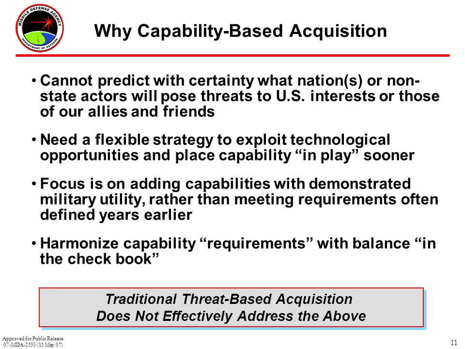 Why Capability-Based Acquisition