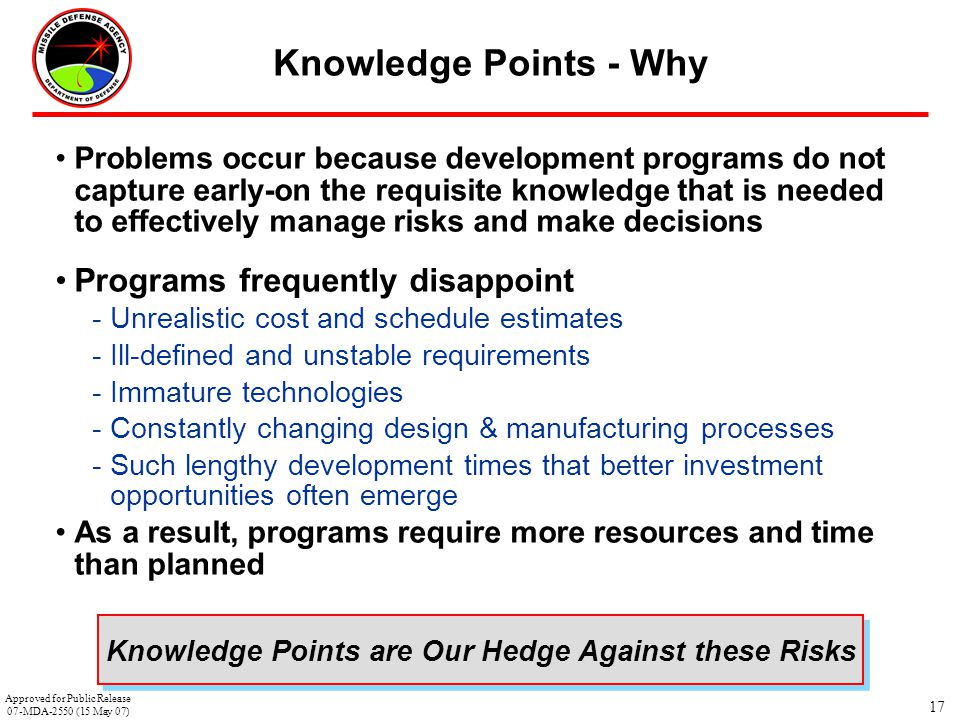 Knowledge Points are Our Hedge Against these Risks