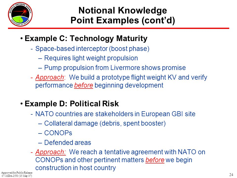 Notional Knowledge Point Examples (cont'd)