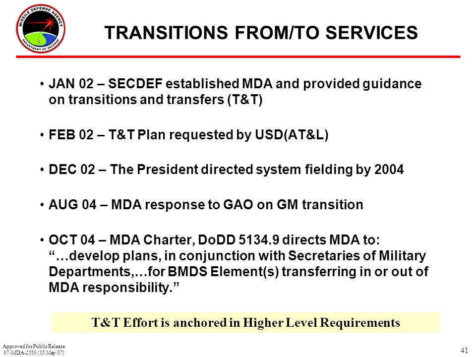 TRANSITIONS FROM/TO SERVICES